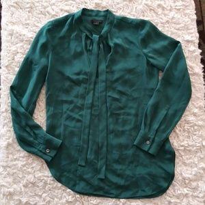 J. Crew Collection Silk Emerald Blouse xxs